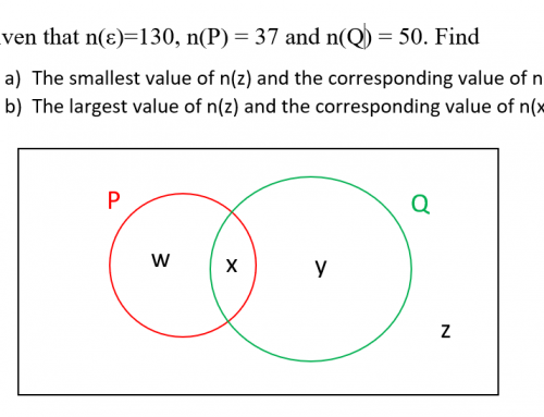 Elementary Math – Set Notation – Find the Largest and Smallest value from the venn diagram.