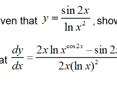 Additional Math – Differentiation – Sin 2x and 2 lnx
