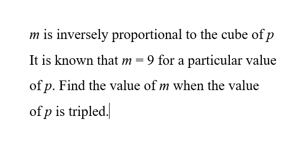 Elementary Math – Proportion – Find the value of m when there the value of p is tripled